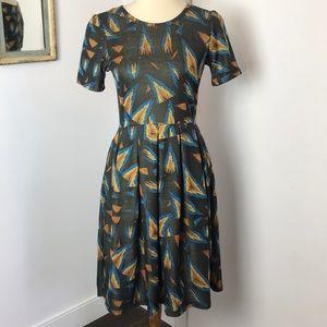 LulaRoe Amelia Black and Blue Print Dress M
